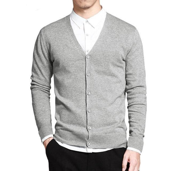 V-Neck Solid Button Cardigan - Gray / XS- Cardigan -HIS.BOUTIQUE