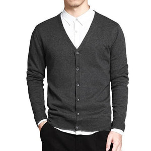 V-Neck Solid Button Cardigan - Dark Gray / XS - HIS.BOUTIQUE