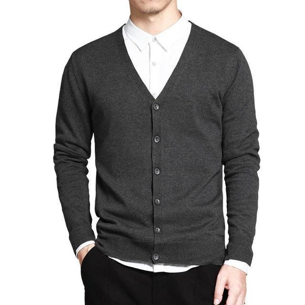 V-Neck Solid Button Cardigan - Dark Gray / XS- Cardigan -HIS.BOUTIQUE
