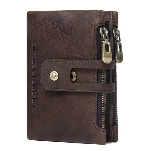 Men's Leather Wallet - coffee- Handbags, Wallets & Cases -HIS.BOUTIQUE