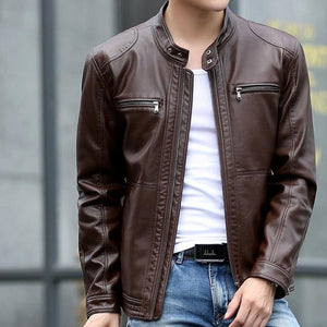 Leather Biker Jacket - Dark Coffee / XS - HIS.BOUTIQUE