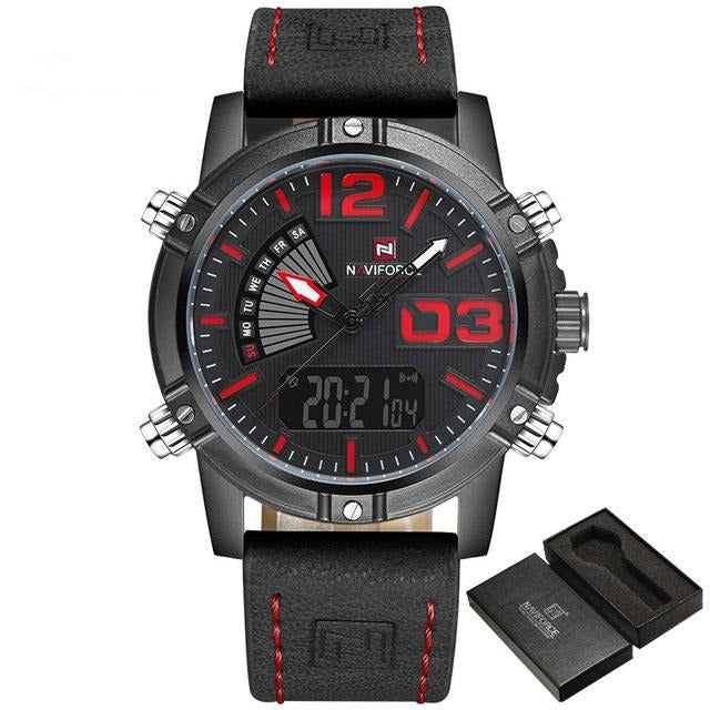 Leather Military Watch - Black Red - HIS.BOUTIQUE