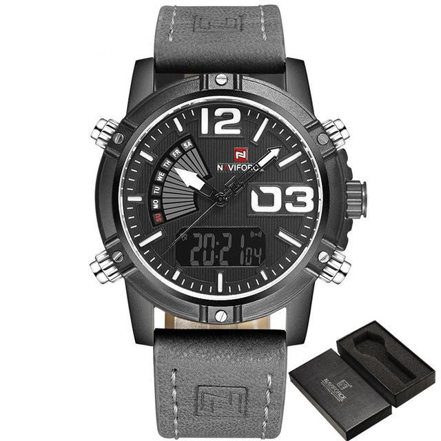 Leather Military Watch - Black Gray - HIS.BOUTIQUE