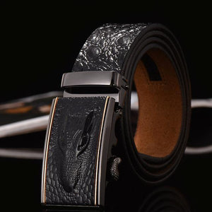 Crocodile Designer Belt - Black / 105cm - HIS.BOUTIQUE