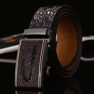 Crocodile Designer Belt - Coffee / 105cm - HIS.BOUTIQUE