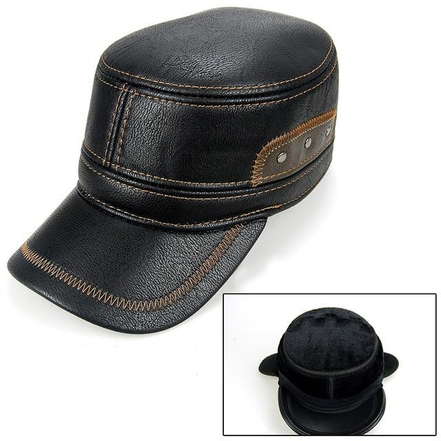 Leather Patchwork Cap - Black - HIS.BOUTIQUE