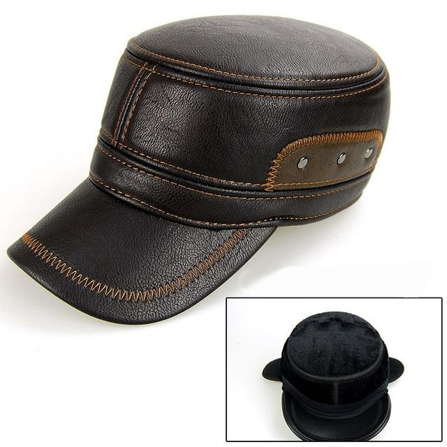 Leather Patchwork Cap - Brown - HIS.BOUTIQUE