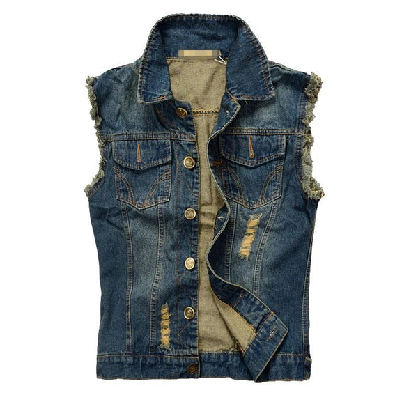 Men's Denim Vest - Blue / XS- Vest -HIS.BOUTIQUE
