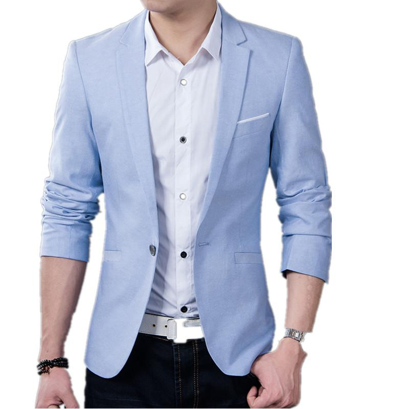Solid Color Casual Blazer - Light blue / XXS - HIS.BOUTIQUE