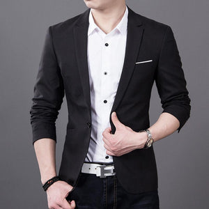 Solid Color Casual Blazer - Black / XXS - HIS.BOUTIQUE