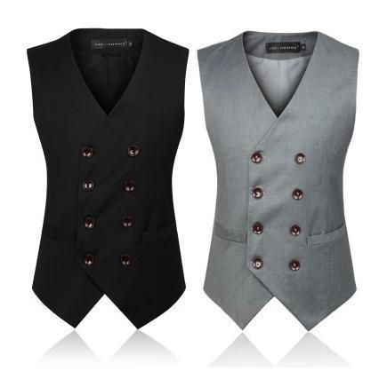 British Style Slim Double Breasted Waistcoat -  - HIS.BOUTIQUE