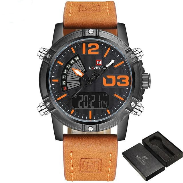 Leather Military Watch - Black Orange - HIS.BOUTIQUE