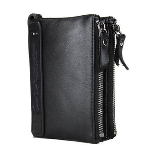 Cowhide Leather Men Wallet - black- Handbags, Wallets & Cases -HIS.BOUTIQUE