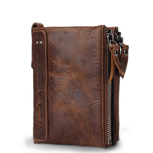 Cowhide Leather Men Wallet - brown- Handbags, Wallets & Cases -HIS.BOUTIQUE