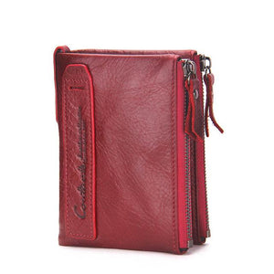 Cowhide Leather Men Wallet - red- Handbags, Wallets & Cases -HIS.BOUTIQUE