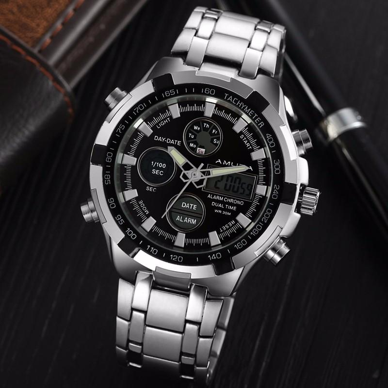 Amuda Fashion Digital Watch - silver black - HIS.BOUTIQUE