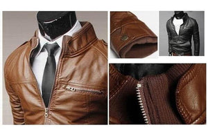 Men's Slim Leather Jacket -  - HIS.BOUTIQUE