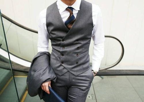 British Style Slim Double Breasted Waistcoat - Gray / XS- Vest -HIS.BOUTIQUE