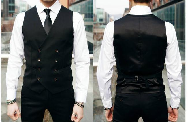 British Style Slim Double Breasted Waistcoat - Black / XS - HIS.BOUTIQUE