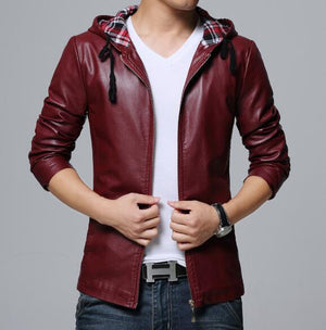 Collective Leather Hoodie - Wine Red / XS - HIS.BOUTIQUE