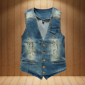 Vintage Design Denim Vest - Blue / XS - HIS.BOUTIQUE