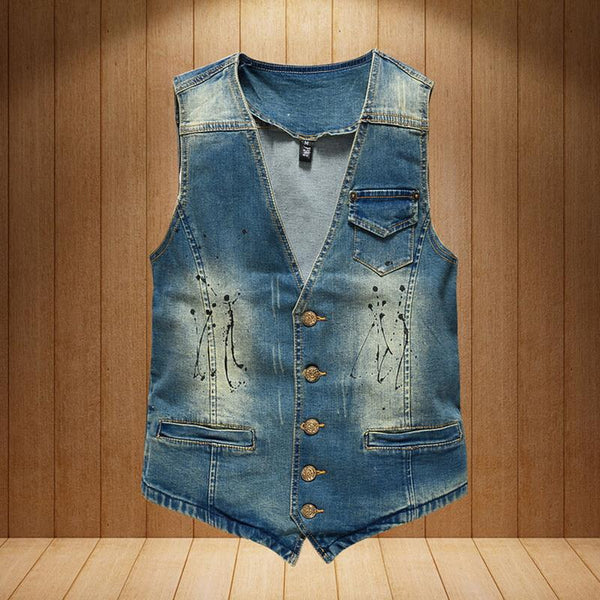 Vintage Design Denim Vest - Blue / XS- Vest -HIS.BOUTIQUE