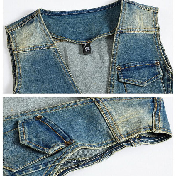Vintage Design Denim Vest - - Vest -HIS.BOUTIQUE