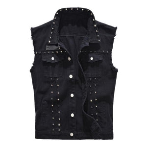 Rivet Denim Vest - black / XS - HIS.BOUTIQUE