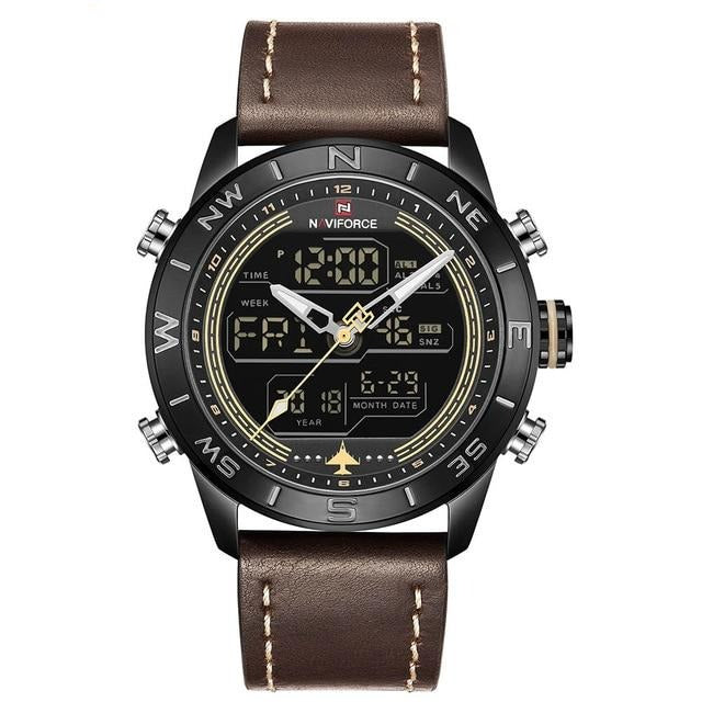 LED Analog & Digital Watch - Brown - HIS.BOUTIQUE