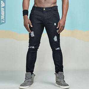 Destroyed Dark Denim Jeans - Black / S - HIS.BOUTIQUE