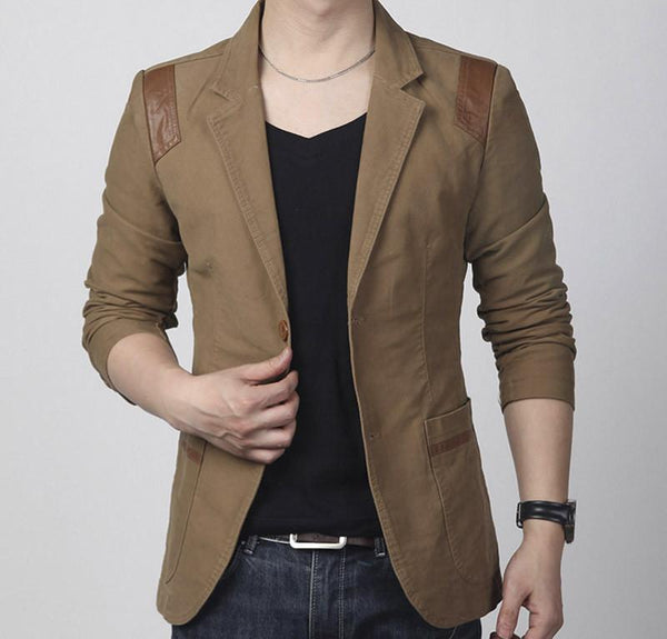 Leather Patchwork Cotton Blazer - khaki / XXS- Blazer -HIS.BOUTIQUE