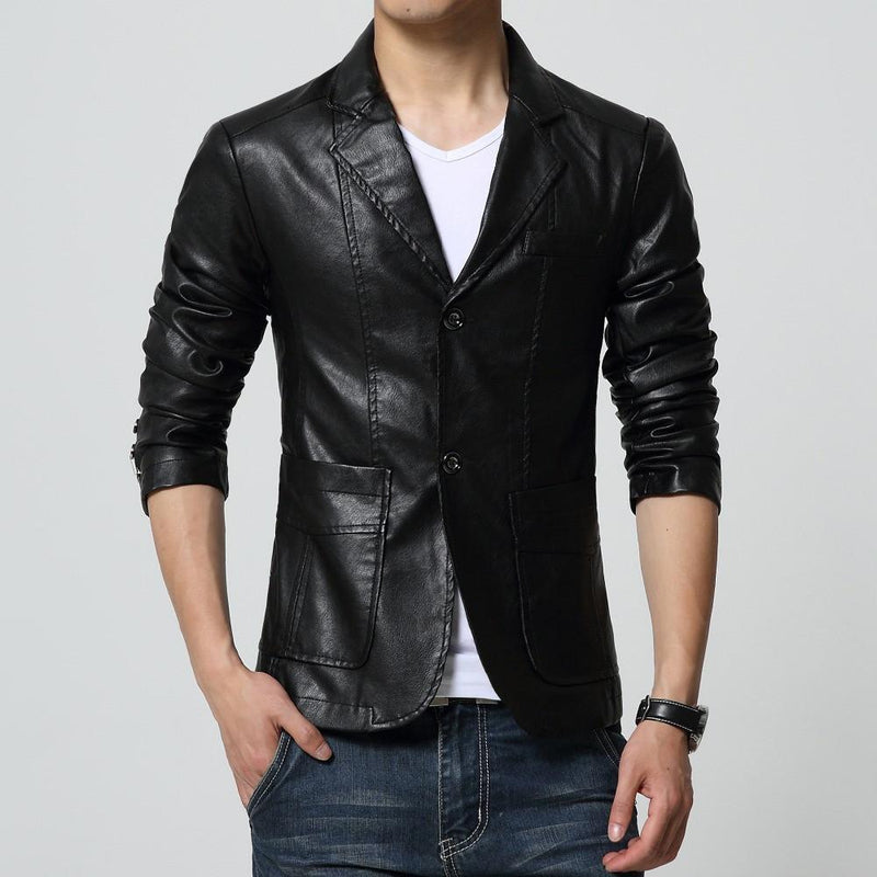 Faux Leather Slim Blazer - Black / XXS - HIS.BOUTIQUE