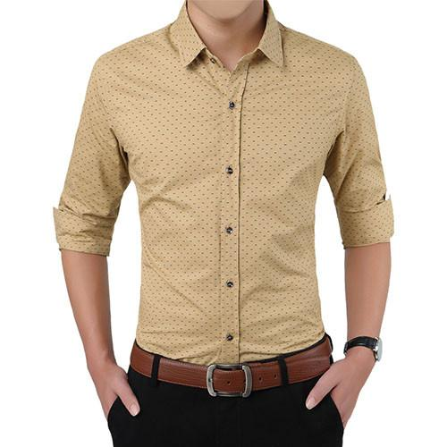 Polka Dot Dress Shirt - Khaki / XXS- Shirt -HIS.BOUTIQUE