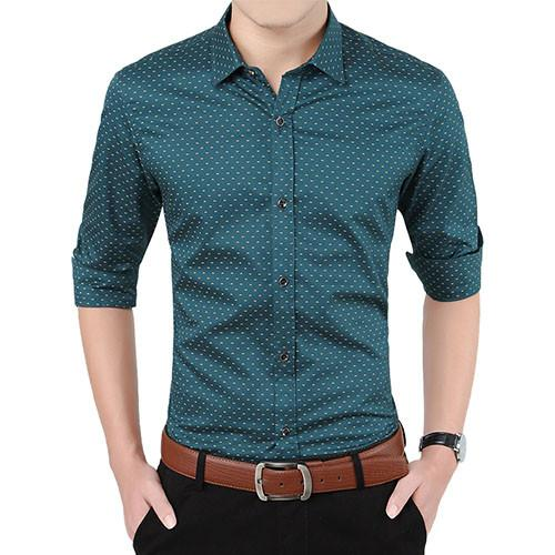 Polka Dot Dress Shirt - Army Green / XXS- Shirt -HIS.BOUTIQUE