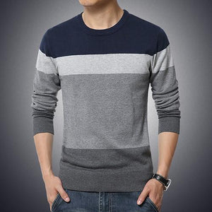 O-Neck Striped Sweater - Navy / XS - HIS.BOUTIQUE