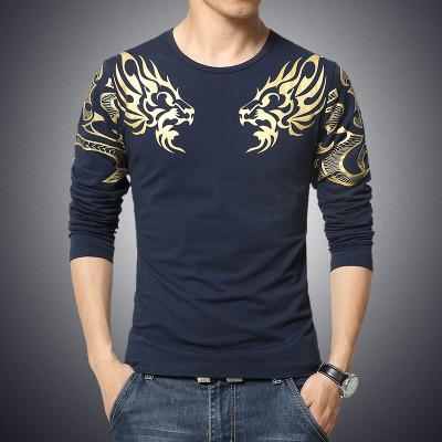 Slim Dragon Printed T-Shirt - Navy Blue / XS - HIS.BOUTIQUE
