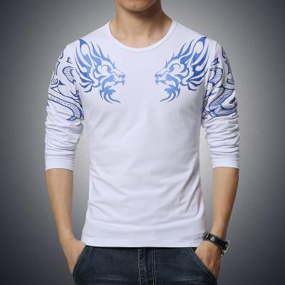 Slim Dragon Printed T-Shirt - White / XS - HIS.BOUTIQUE