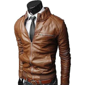 Men's Slim Leather Jacket - brown / S - HIS.BOUTIQUE