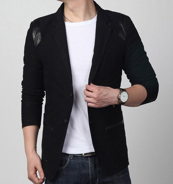 Leather Patchwork Cotton Blazer - black / XXS- Blazer -HIS.BOUTIQUE