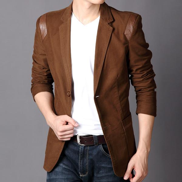 Leather Patchwork Cotton Blazer - coffee / XXS- Blazer -HIS.BOUTIQUE