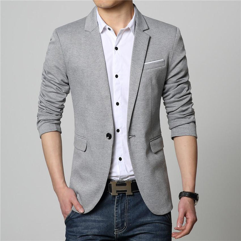 One Button Blazer - Silver / XS - HIS.BOUTIQUE