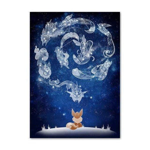 Sarah Lerrot Poster 21cmX30cm Affiche Pokemon Fan Art Évoli Constellation