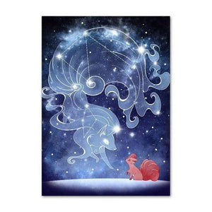 Sarah Lerrot Poster 21cmX30cm Affiche Pokemon Fan Art Goupix Constellation Feunard