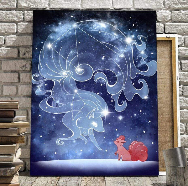 Sarah Lerrot Poster Affiche Pokemon Fan Art Goupix Constellation Feunard