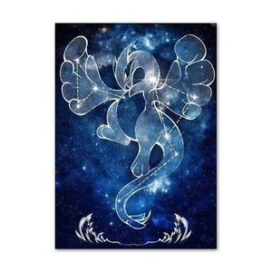 Sarah Lerrot Poster 21cmX30cm Affiche Pokemon Fan Art Lugia Constellation