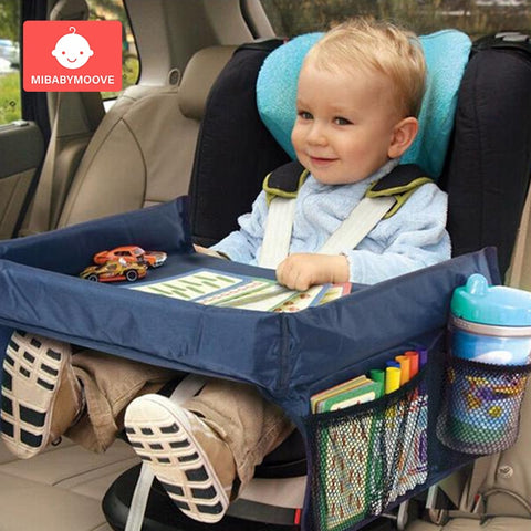 Portable Baby Car Seat Tray Stroller Kid Toy Waterproof Food Water Holder Desk Children Car Seat Table Plate Storage Travel Play