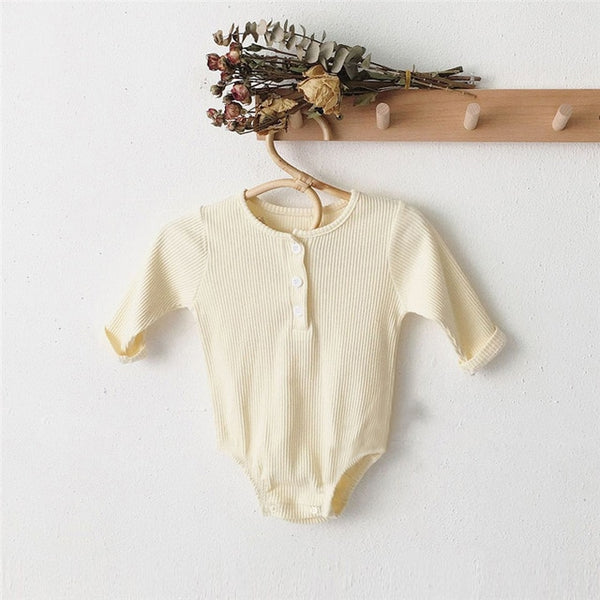 Cotton Baby Romper / Long Sleeved Jumpsuit / Baby Hat