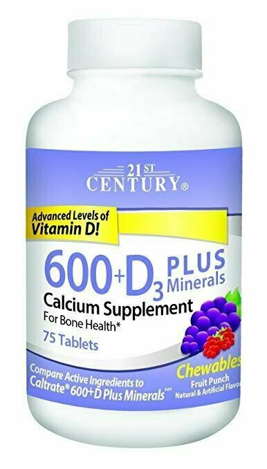 21st Century Calcium 600 mg +D Plus Minerals Chewable Tablets, 75 Count - usaotc.com