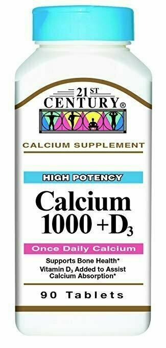21st Century Calcium Plus D Tablets, 1000 mg, 90 Count - usaotc.com