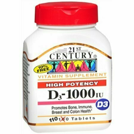 21st Century D3-1000 IU Tablets High Potency- 110 Tablets - usaotc.com